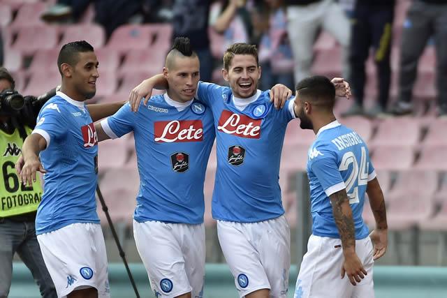 Napoli vs Fiorentina Hamsik Jorginho Insigne Ghoulam