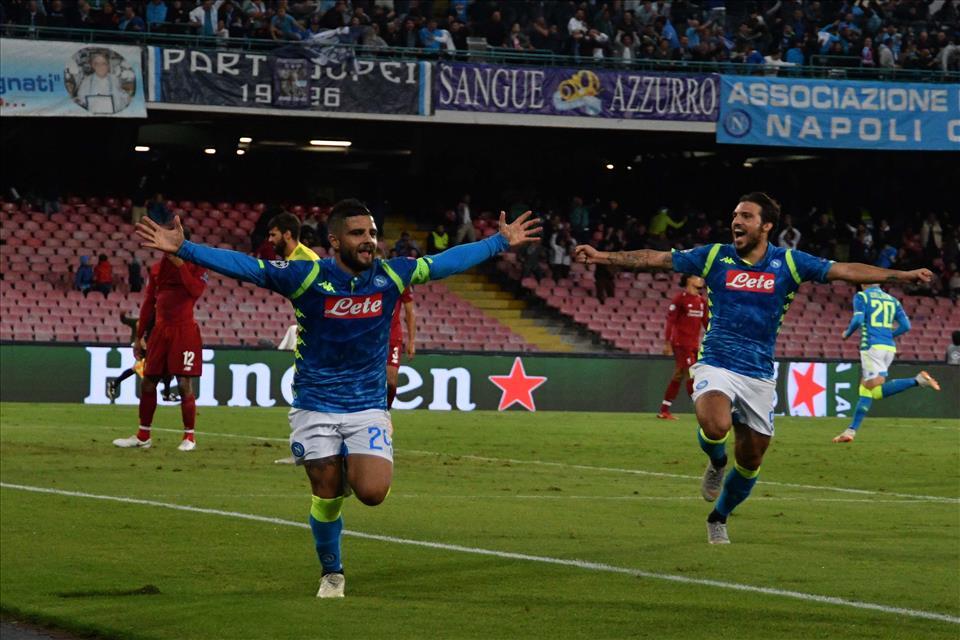 Napoli - Liverpool Insigne esulta al gol 03-10-18