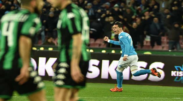 Napoli - Sassuolo - Callejon esulta dopo il gol