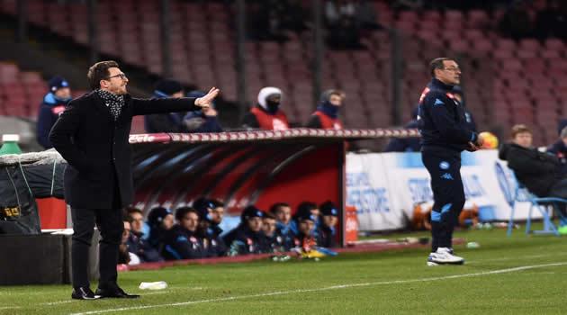 Napoli - Sassuolo - Gli allenatori Di Francesco e Sarri