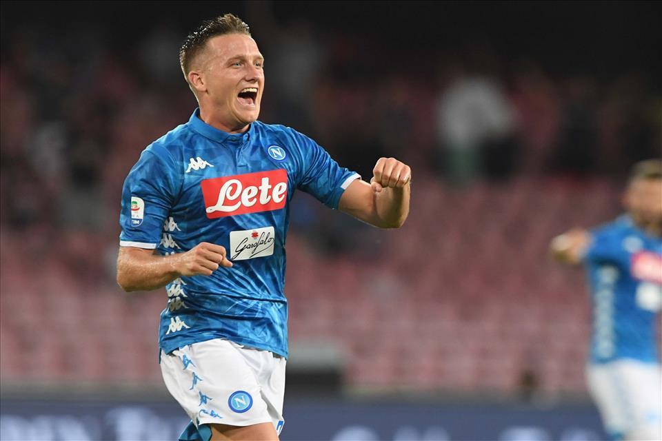 Napoli vs Milan 25-08-18 esultanza di Zielinski