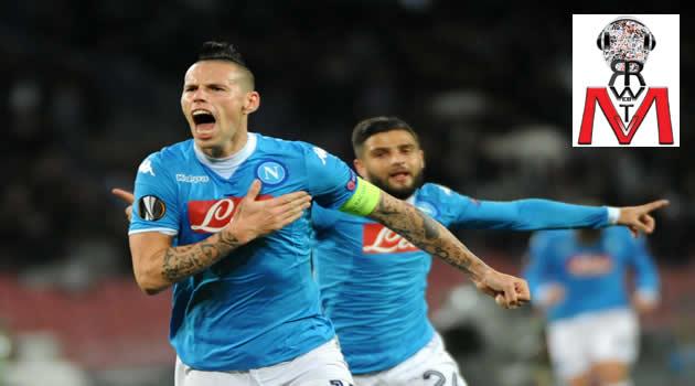 Napoli vs Villareal - Hamsik esulta dopo il gol