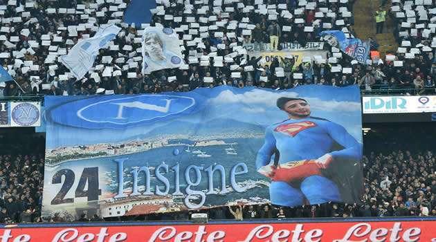 Napoli vs Inter - striscione Insigne