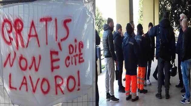 Sant'Antimo - operatori ecologici in sciopero