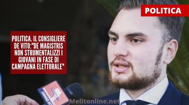 """Politica. Il Consigliere De Vito:""""De Magistris non strumentalizzi i giovani in fase di campagna elettorale"""""""