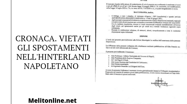 Cronaca. Ordinanza vietati gli spostamenti nell'hinterland napoletano